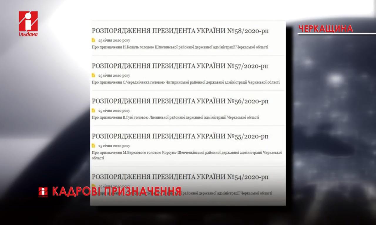 На Черкащині призначено сім голів РДА (ВІДЕО)